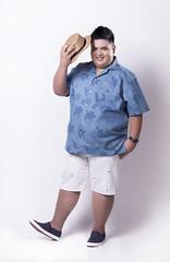 เสื้อฮาวายแขนสั้นผู้ชายอ้วนผ้ายีนส์พิมพ์ลายดอกกุหลาบ
