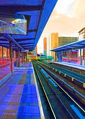 Technicolour Railway (Padski1945) Tags: docklands docklandslightrailway undergroundtrain londonscenes railwaylines undergroundstations colourchanged artinfluenced