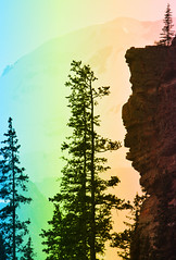 Banff NP ~ Lake Louise - HSS! (karma (Karen)) Tags: trees canada mountains topf25 rainbow silhouettes explore pines alberta glaciers lakelouise canadianrockies hss victoriaglacier banffnp 70favs canadanationalparks sliderssunday ipiccy