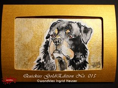 GoldEdition No.015 Rottweiler Leon (wandklex Ingrid Heuser freischaffende Künstlerin) Tags: colour ingrid water metal germany painting french gold golden glamour hand magic pug rottweiler card watercolour edition greeting luxury luxus kennel quickies mops aquarell ratzeburg malerei heuser unikat einzelstück goldedition gruskarte gruskarten wandklex metaledition goldfarbne frenchei westentaschenkunst