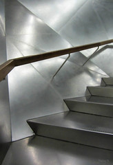 Stainless Steel (Jocey K) Tags: madrid lighting building stairs reflections spain stainlesssteel railing caixaforum archtiecture industrialarchitecture caixaforummuseummadrid