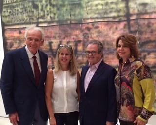 Collectors Norman and Irma Braman with Carlos de la Cruz and Lourdes Jofre Colette at the de la Cruz collection lecture by Jeffrey Deitch