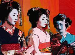 Maikos Pop Art, 2011 (annegrandin) Tags: france color art japan illustration composition rouge anne photo kyoto couleurs creative pop maiko geisha kimono obi papier numrique japon impression color artiste grandin artistique 2011 traditionnel cratif digigraphie apprenties