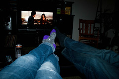 Movies, Beer And My Best-Friend (Jules (Instagram = @photo_vamp)) Tags: feet halloween beer socks jeans bestfriends movienight nightin putyourfeetup mybestfriend