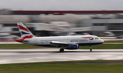 BA Arrival (Treflyn) Tags: morning london wet plane airplane airport heathrow sunday touch down aeroplane airbus british ba arrival airways airliner lhr a319 319 a319100 geupz