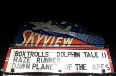 Skyview Drive-In Movie Theater Sign - Belleville, MO_20140927_202942c (Wampa-One) Tags: sign plane vintage stars marquee jet drivein planet saturn skyview jetage bellevilleil driveinmovietheater boxtrolls