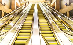 The Ups and Downs (Franco Beccari) Tags: world city trip travel vacation white holiday black color colour tourism yellow stairs photography nikon europe hungary metro escalator budapest nikkor d600 undergroud subsay
