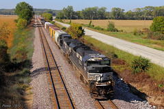 Eastbound NS Manifest Train at Liberty, MO (Mo-Pump) Tags: railroad train locomotive railfan railroader