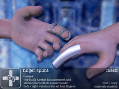 [ht+] finger splint (Corvus Szpiegel) Tags: life original broken hospital this office hurt play mesh accident finger injury pinky ring sl medical doctor secondlife hate second nurse ht middle medic fracture index brace rp cracked splint sprain injured role roleplay