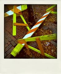 Yellow|Orange|Leaves (brotherM) Tags: street orange leaves rain yellow portland polaroid bricks maine lofi angles fallen infrastructure barricades poladroid