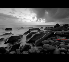 Stormy (Crystal Yi-Tong Dawn) Tags: travel sunset blackandwhite bw seascape storm monochrome landscapes taiwan       pingtung  blackcardtechnique gettyimagescontributor