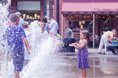 Because fountains are fun (moony: stupidly dreamy) Tags: street blue playing water fountain girl fun kid downtown child play knoxville tennessee candid joy happiness splash