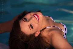 Kate Enjoying Herself at the Pool (eoscatchlight) Tags: arizona model modeling naturallight retro redhead bikini scottsdale onone naturallightportrait portraitprofessional eldoradoresort 50sglamour