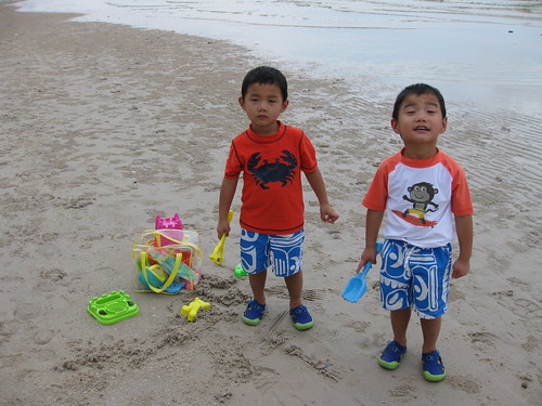 Rory (crab) and Thomas (monkey) at the beach in Hua Hin
