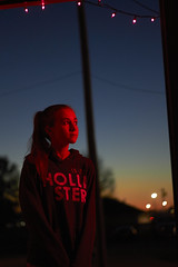 Neon Nights and Halloween Lights (Jeffrey Deal) Tags: lighting family pink blue decorations light portrait color halloween colors girl night canon 50mm hoodie october purple natural dusk candid daughter teen hour teenager ambient bluehour 18 available fifty nifty 550d t2i