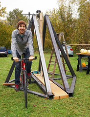 Pedal Power (Wolfram Burner) Tags: halloween pumpkin fun design stem education factory space science steam eugene sling toss physics burner maker contraptions slingshot eugeneoregon academics chunkin trebuchet wolfram chunkers catapults eugenemakerspace fertilab