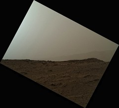 Looking to the Rim of Gale Crater Through the Haze 5 (sjrankin) Tags: mars mountains haze sand rocks edited nasa dust rise rim curiosity craterrim msl galecrater 4november2014