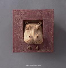 FLODHEST  Hippo (Skulpturliv) Tags: sculpture animal wall ceramic frame hippo stoneware vegg flodhest ramme steingods skulpturliv