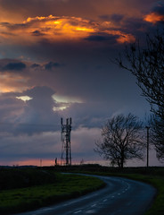 Hot Comms! (paulinuk99999 - tripods are for wimps :)) Tags: paulinuk99999 hot comms mobile phone mast sunset bedfordshire england uk road twisting