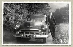 """1949 Chevrolet (Raymondx1) Tags: vintage classic black white """"blackwhite"""" sw photo foto photography automobile car cars motor 1949 chevrolet 4doorsedan gmsuisse montagesuisse badge bienne biel suit tie doublebreastedsuit"""
