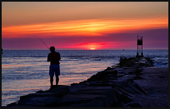 Fishing at Sunrise - Indian River lnlet (stevebfotos) Tags: bethanybeach delaware unitedstates us