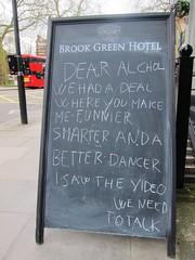 Dear Alcohol (Joe Shlabotnik) Tags: london sign 2017 chalkboard brookgreen march2017 england 60225mm