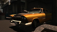 Worlds Fastest Taxi (alexandriabrangwin) Tags: alexandriabrangwin secondlife 3d cgi computer graphics virtual world photography plymouth fury taxi supercharged hot blower bonnet powerful old style yellow cab garage parked v8