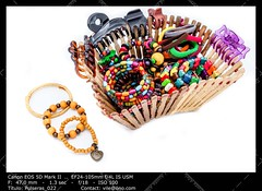 A basket of  fashion accessories  of woman (__Viledevil__) Tags: hair clip tie multi colored ponytail holder woman accessories basket blue bracelet brown colors fashion green hairband hairpin pink red scrunchie wood yellow hairclip hairtie multicolored ponytailholder womanaccessories
