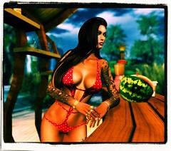 Day at the Beach (Carla Putnam) Tags: revelation trikini revelationtrikini bikini swimwear swimsuit sl secondlife fashion woman fashions stealthic kibitz larahurley lettis maitreya