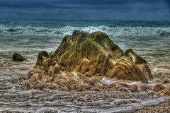 Mossy Rock in the Ocean (Michael F. Nyiri) Tags: malibu california southerncalifornia rocks elmatadorstatebeach