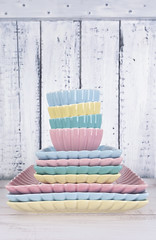 Pile plates on white wooden background (♥Oxygen♥) Tags: ware ceramic empty green object pile table tableware color background blue cafe closeup collection copyspace dishware set beverage blank coffeecup colour colourful glass group handle houseware many nobody shot simple still studio style tea teatime restaurant setting white dinner dish pastel shabby tender pink wood wooden plates plate food