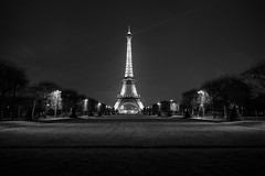 Eiffel Tower at Dusk (BrianEden) Tags: champdemars france xpro1 blackandwhite paris travel eiffeltower fuji toureiffel travelphotography bw destination fujifilm 7emearrondissement îledefrance fr