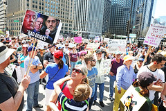 Protect Your Children From Bad Dudes. (kirstiecat) Tags: baddudes badhombres march taxmarch notaxationwithoutrepresentation freedom democracy chicago people crowd streets canon signs protest political liberal impeachtrump taxfraud parents children