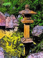 lantern in a lake (JoelDeluxe) Tags: albuquerque biopark botanical garden nm newmexico joeldeluxe