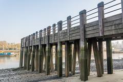 under the boardwalk (stevefge) Tags: london thames rivers wooden pilings jetty southbank mud sand lowtide landscape uk city reflectyourworld
