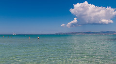 Platja de Palma (JR Photography) Tags: blue sky sun tree beach windmill clouds strand see spain mediterranean palm mallorca palma ballermann palme spanien platja balearic mittelmeer balnearios windwhle