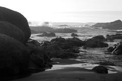 rocks (grafficartistg4) Tags: ocean white black texture beach water monochrome rock 50mm prime mono evening sand rocks soft waves dof bokeh crash dusk wave sharp formation textures splash 32 depth formations crashing splashing