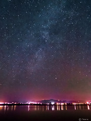 Stars and Milkyway (Tasos K.) Tags: sea sky night way stars lights greece astrophotography wetlands astronomy milky atalanti