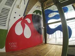 Wunder Waffel, Zone X98 (KNEE JERK) Tags: wood streetart abstract colour graffiti abstractart contemporaryart letters shapes vietnam drips form hanoi waffles shading linework sacredgeometry waffels kneejerk contemporarymural
