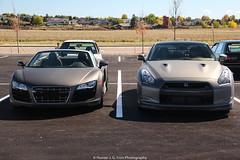 Matte Gray Twins (Hunter J. G. Frim Photography) Tags: colorado nissan spyder audi supercar v10 gtr r8 nissangtr r35 auidr8v10spyder