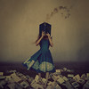 character untold (brookeshaden) Tags: selfportrait fairytale whimsy books fineartphotography bluedress wondrous foggyfield pileofbooks surrealphotography conceptualphotography bookpages brookeshaden whimsicalphotography