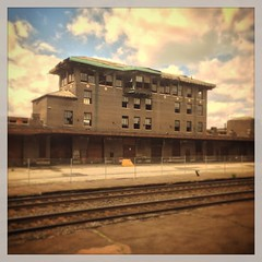 24 May 2014 (Rob Rocke) Tags: old travel windows abandoned architecture vintage buildings ma massachusetts traintracks amtrak transportation springfield mass portals railroads trainstations throughawindow railyards vermonter selectivefocus fauxvintage