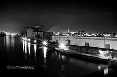 Mannheim 22 _MAR7443 -2 (camera2m) Tags: blackandwhite bw industry water monochrome night river de ma deutschland lights nikon ship harbour sw schwarzweiss mannheim