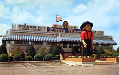 Zinn's Modern Diner Denver PA (Edge and corner wear) Tags: statue vintage restaurant pc pennsylvania postcard diner amish pa chrome figure farmer turnpike roadside