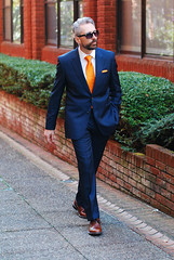 Blue Reiss suit and orange tie - over 40 menswear (silverlondoner) Tags: orange socks burlington square beard tie suit pocket argyle silverfox reiss brogues