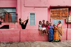 IMG_1293©ChristineHewitt_YogicPhotos (yogicphotos) Tags: family pink girls woman india house color colour feet horizontal yoga wall laughing fun women toes legs vibrant laugh balance mysore sari asana christinehewitt jot wideangleseatedforwardbend jacui upavisthakonasana yogaphotography upavisthakonasanab yogicphotos