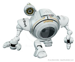 Robot Web Cam Walking Toward Viewer. (clipartillustration) Tags: camera white digital computer walking toy grey robot webcam technology object character label surveillance internet device mascot plastic journey electronics round spy network concept gadget gizmo automation invention scouting lense
