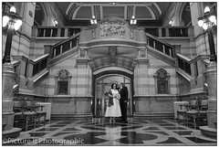Sam & Darren (twistyshrimp) Tags: family wedding people woman man male love monochrome female blackwhite couple yorkshire marriage civic occasion bradfordtownhall