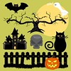 Halloween_silhouettes_preview (ragerabbit) Tags: trees moon holiday castle halloween grass set cat fence dark pumpkin skull wings eyes funny wolf spiders stones cartoon scarecrow silhouettes illustrations owl bones ghosts creatures celebrate vector bats