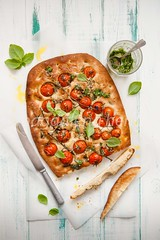 focaccia with tomatoes and pesto (magshendey) Tags: food foodphotography focaccia tomatoes bread homebaking artisan foodstyling summer